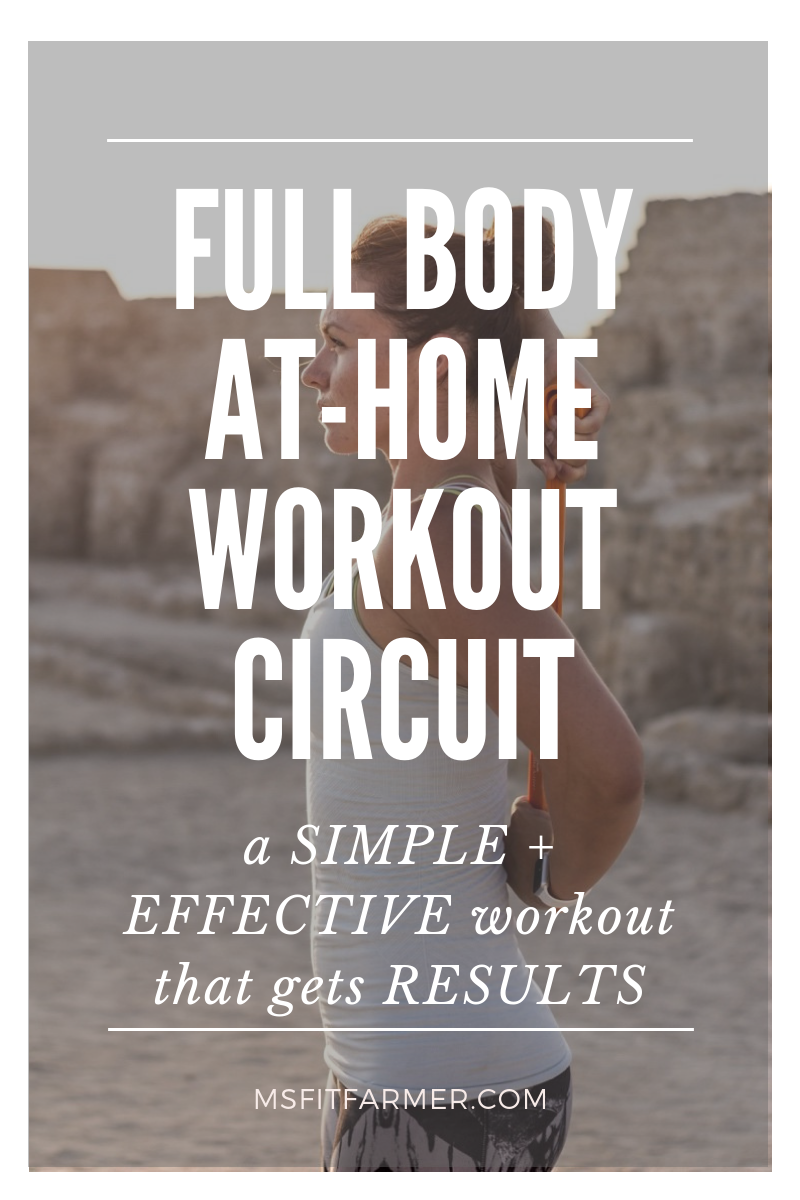 This full-body home workout plan is perfect for all fitness levels- from beginner to advanced! Get a quick yet effective workout in even when you\'re stressed for time + low on equipment. This circuit incorporates compound movements that hit multiple muscle groups to help you see results faster.