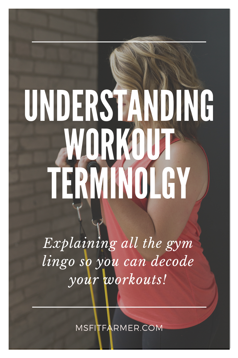 The beginner\'s guide to strength training. This is the ultimate cheat sheet to help you understand common fitness and workout terms. After reading this post, you\'ll have greater understanding of the gym lingo used in most workout programs.